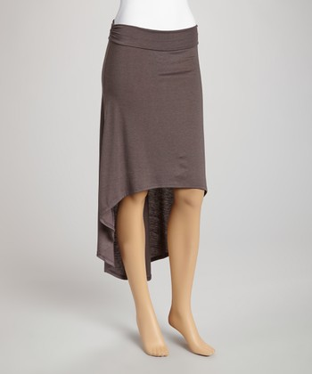 Mocha Ruffle Hi-Low Skirt