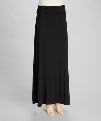 Black Roll Waist Maxi Skirt
