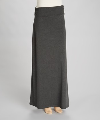 Charcoal Roll-Waist Maxi Skirt - Women