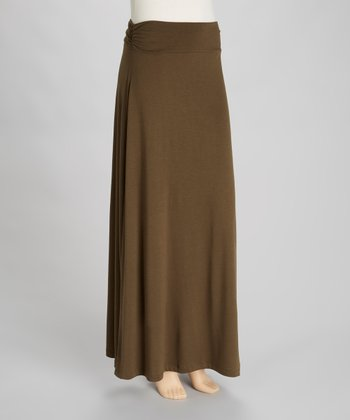 Dark Olive Roll Waist Maxi Skirt