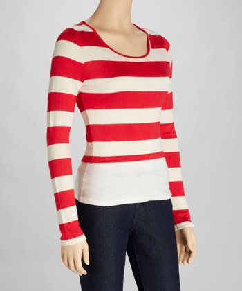 Red & Ivory Stripe Scoop Neck Crop Top