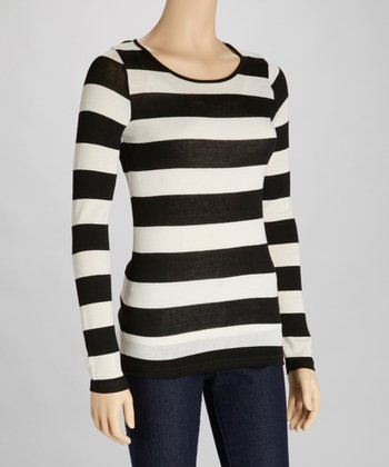 Black & Ivory Stripe Cutout Top