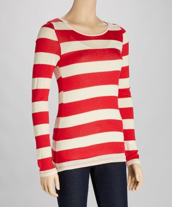 Red & Ivory Stripe Cutout Top