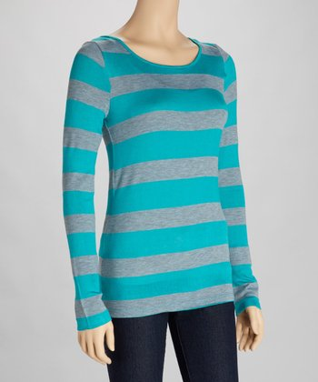 Teal & Heather Gray Stripe Cutout Top