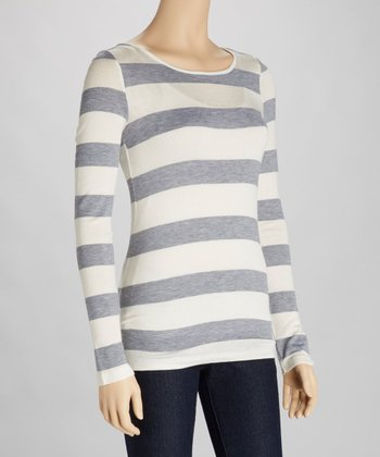 Ivory & Heather Stripe Cutout Top