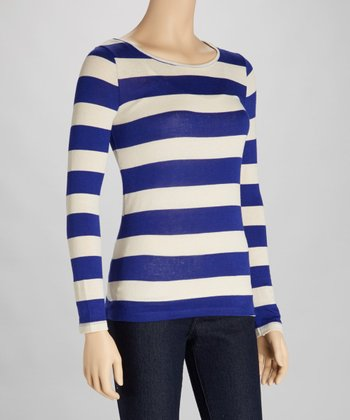 Royal & Ivory Stripe Cutout Top