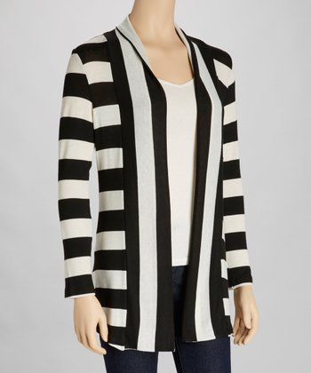Black & Ivory Stripe Open Cardigan