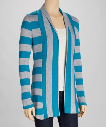 Heather Gray & Turquoise Stripe Open Cardigan