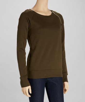 Dark Olive Zipper Top