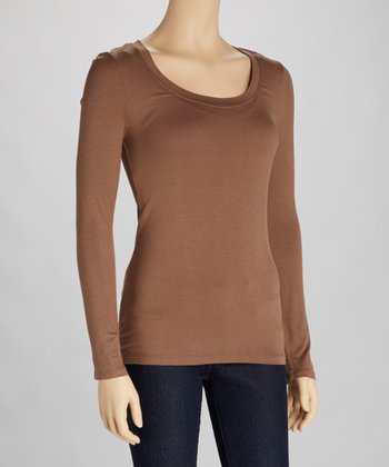 Mocha Scoop Neck Tee