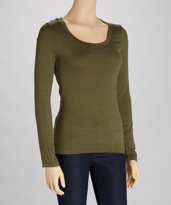 Olive Scoop Neck Tee