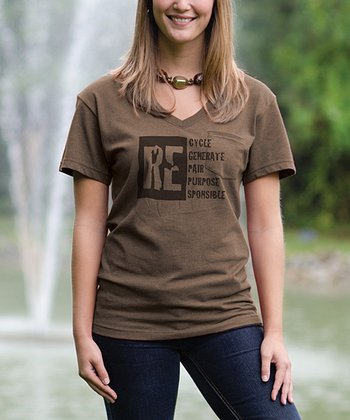 Camel 'RE' V-Neck Pocket Tee