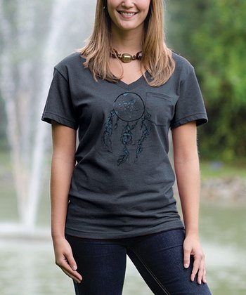 Charcoal Dreamcatcher V-Neck Pocket Tee