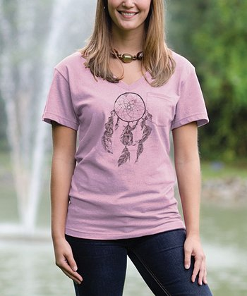 Cotton Candy Dreamcatcher V-Neck Pocket Tee
