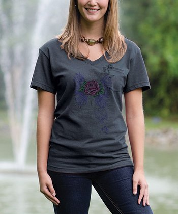 Charcoal Rose V-Neck Pocket Tee