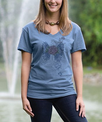 Chamblue Rose V-Neck Pocket Tee