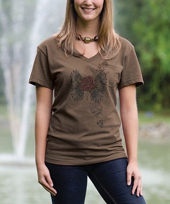 Camel Rose V-Neck Pocket Tee