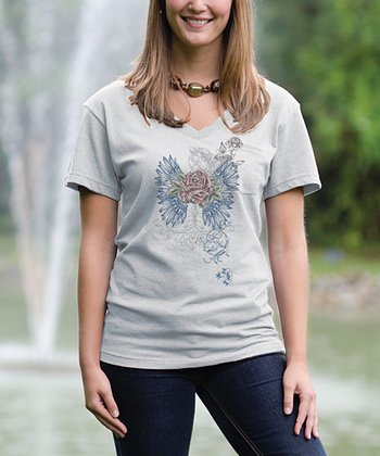 Cloud Rose V-Neck Pocket Tee