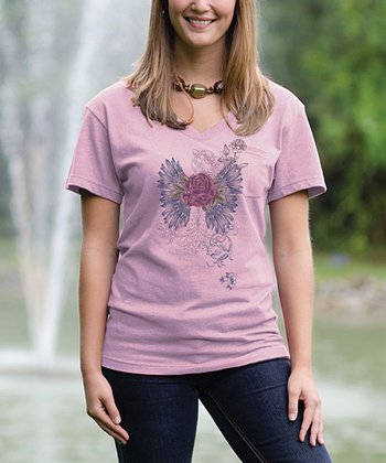 Cotton Candy Rose V-Neck Pocket Tee