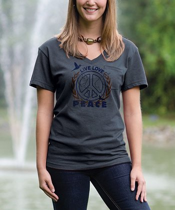 Charcoal 'Peace' V-Neck Pocket Tee