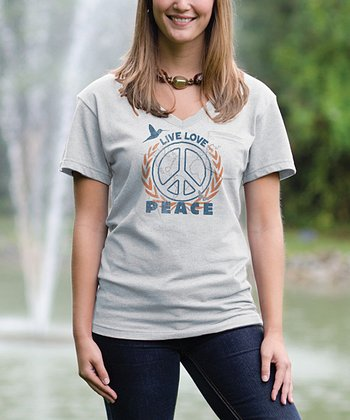 Cloud 'Peace' V-Neck Pocket Tee