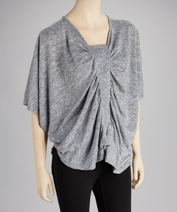 Gray Cape-Sleeve Top