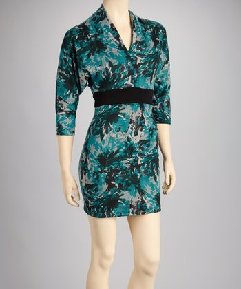 Teal Abstract Floral Dress