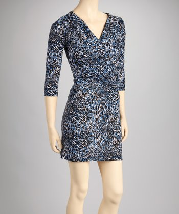 Blue Abstract Collared Dress