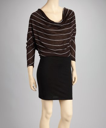 Brown Stripe Cowl Neck Dress