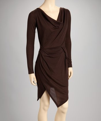 Brown Cowl Neck Dress