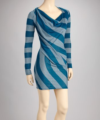 Teal & Gray Stripe Cowl Neck Dress