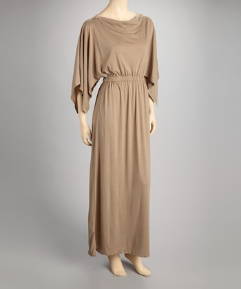 Mocha Cape-Sleeve Maxi Dress