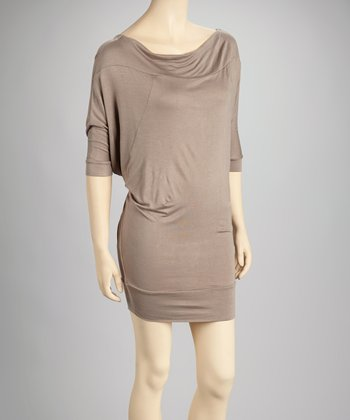 Mocha Cowl Neck Dress