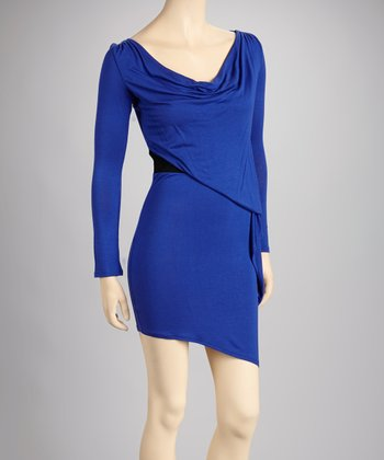 Royal Blue Cowl Neck Dress