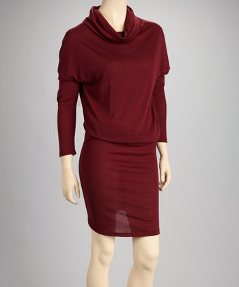 Burgundy Turtleneck Dress