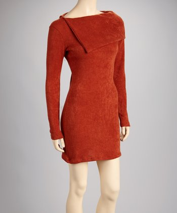Rust Long-Sleeve Dress