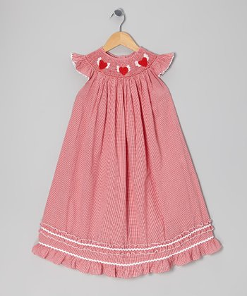 Red Smocked Heart Angel-Sleeve Dress - Infant, Toddler & Girls