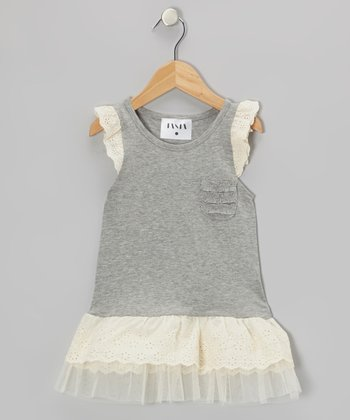 Gray Tough Angel-Sleeve Tunic - Toddler & Girls