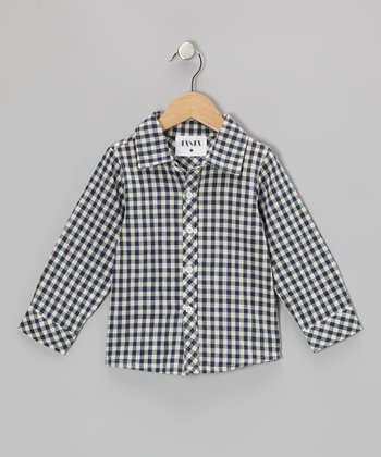 Blue Checkerboard Button-Up - Toddler & Kids