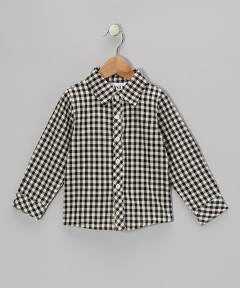 Black Checkerboard Button-Up - Toddler & Kids