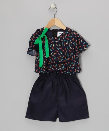Blue Birds & Feathers Romper - Toddler & Girls
