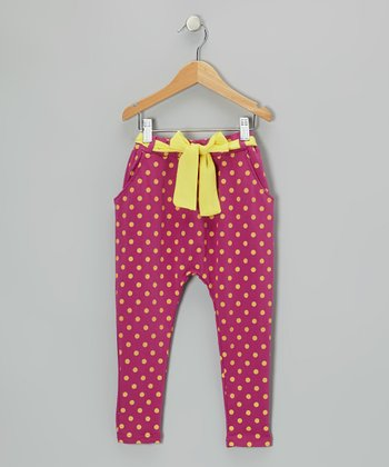 Fuchsia & Yellow Polka Dot Pants - Girls & Toddler