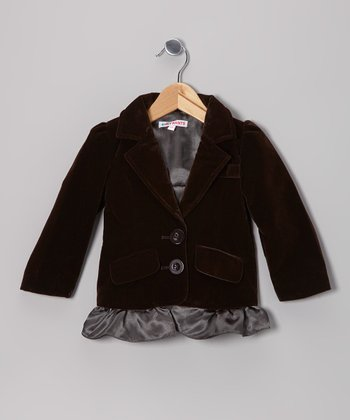 Brown Velvet Skirted Blazer - Toddler & Girls
