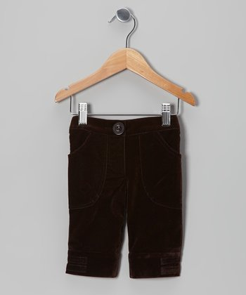 Brown Velvet Pocket Capri Pants - Toddler & Girls