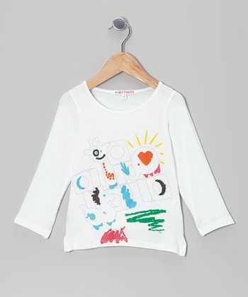 White Abstract Long-Sleeve Tee - Toddler & Girls