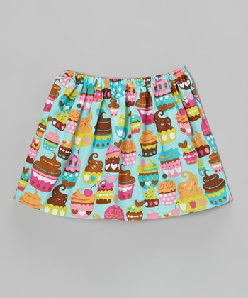 Turquoise Cupcake Circle Skirt - Toddler & Girls