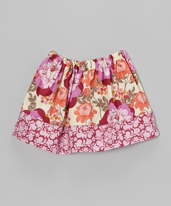 Burgundy Splashy Garden Circle Skirt - Toddler & Girls