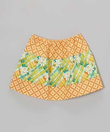 Orange Plaid Floral Circle Skirt - Toddler & Girls