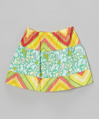 Turquoise Pop Garden Circle Skirt - Toddler & Girls