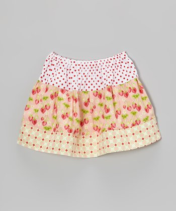 Ivory Strawberry Polka Dot Circle Skirt - Toddler & Girls